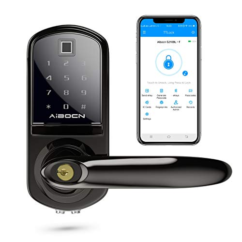 Aibocn Fingerprint Smart Lock, Biometric Keyless Entry Door Lock with Bluetooth,Touchscreen Keypad Deadbolt Lock with App Control, IC Card, Code, Easy to Install for Home Hotel Apartment, Right Handle