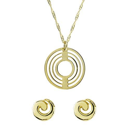 Córdoba Jewels   Conjunto de Gargantilla y Pendientes en Plata de Ley 925 bañada en Oro. Diseño Espiral Oro