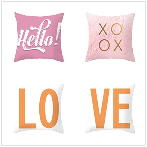 Set of 4 Pcs Throw Pillow Case Cushion Covers Love Velvet Soft Superfine Fiber Square Decorative Throw Pillowcases for Living Room Sofa Bedroom Car with Concealed Zip E490 60x60cm/23.4x23.4in