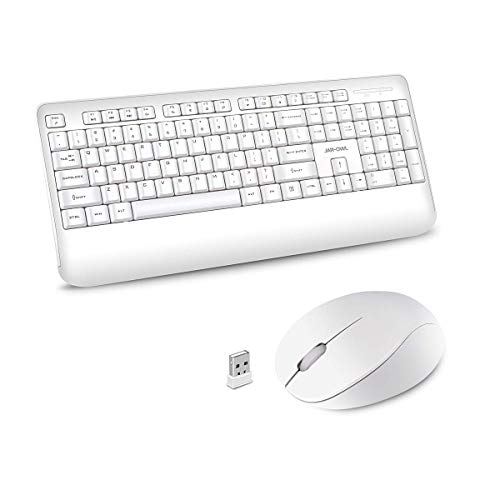 Wireless Keyboard and Mouse Combo, 2.4GHz Ergonomic Computer Keyboard and Wireless Mouse,USB Unifying Receiver,for PC Computer Laptop Windows,Quiet and Ergonomic,White