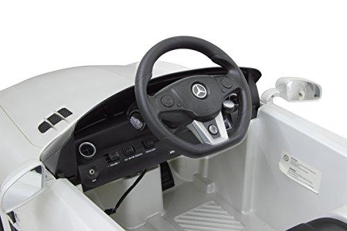 RC Auto kaufen Kinderauto Bild 4: Jamara 404610 - Ride-on Mercedes SLS AMG weiß 40MHz 6V – Kinderauto, leistungsstarker Motor und Akku, bis zu 90 Min Fahrzeit,Ultra-Gripp Gummiring am Antriebsrad,Anschluss von Audioquellen,Sound,Licht*