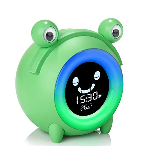 Alarm Clock for Kids, Baby Children's Sleep Training Clock with Wake Up Light, 5-Color Changeable Night Light, 5 Alarm Rings, Temperature Detect, Nap Timer, USB Charging Clock