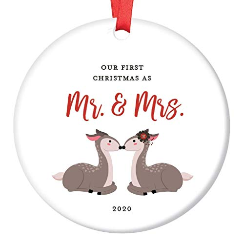 First Christmas Wedding Ornament 2020 1st Married Mr & Mrs Dated Keepsake Gift Bride Groom Husband Wife Newlyweds Present Bridal Shower Woodland Deer Tree Decor Ceramic