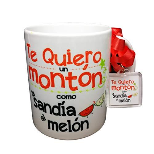 MISORPRESA Taza Y Llavero con Frase Te Quiero un montón como la sandía al melón Regalo ROMÁNTICO Regalo Aniversario Regalo San Valentin