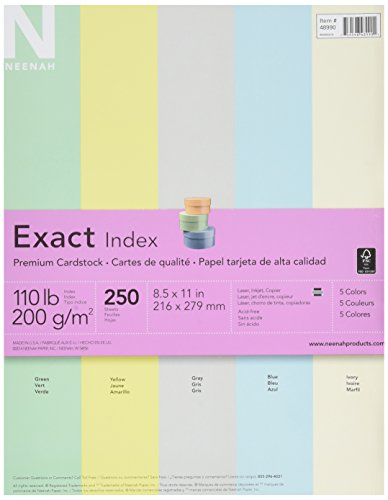 Exact Index Cardstock Paper, 8-1/2 x 11 Inches, 110 lb, Assorted Colors, 250 Sheets - 1301581