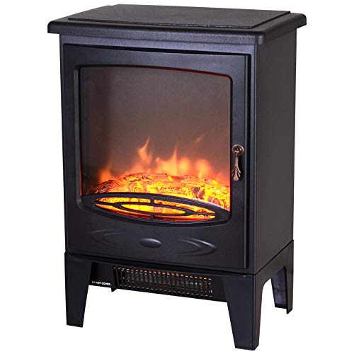 HOMCOM Tempered Glass Casing Electric Heater Freestanding Fireplace Artificial Flame Effect w/Safety Thermostat 950w/1850W