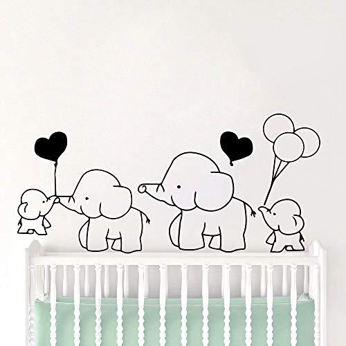 sanzangtang 3D Elefant Dekoration PVC Abnehmbare Vinyl Aufkleber Kinderzimmer Kunst Aufkleber Schlafzimmer Vinyl Wandbild Wandaufkleber 42x90 cm