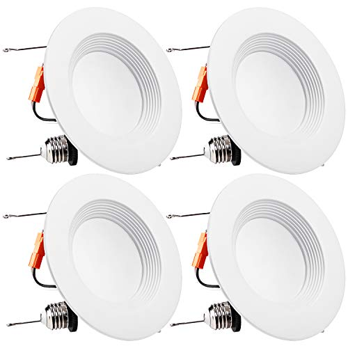 TORCHSTAR 5/6 Inch LED Recessed Downlight, Baffle Trim, Dimmable, 15W (120W Eqv.), CRI 90, UL Listed, 1100lm, 5000K Daylight, Simple Retrofit Installation, Pack of 4