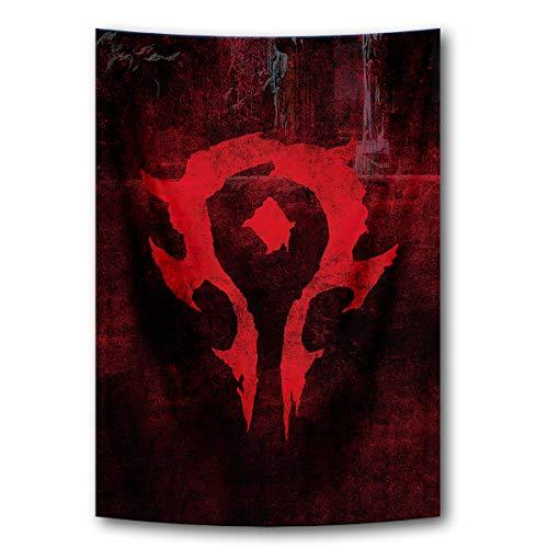Tapisserie-Banner, Flaggen, blau, cooles Spiel, Wandposter mit World of Warcraft Horde Symbol, rot, Heimdekoration, Stoffgemälde, 99 x 159 cm