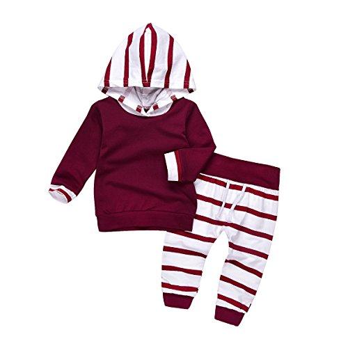 HAOKTY HAOKTY Baby Mädchen Kleidungs Outfit Trainingsanzug Langes mit Kapuze Sweatshirts und Gestreiftes Sweathosen Sweatanzüge für 0-2 Jahre Kleine (70)