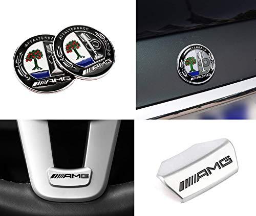 3 PCS AMG Steering Wheel Emblem Decal Sticker + C-pillar Car 3D Metal Emblem Decal for Mercedes-Benz 16 Models 17 Models New E Class