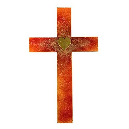kruzifix24 kunsthandwerk glazen kruis hart Jezus/hart Maria echt goud topper rood - oranje Fusingglas reliëf 23 x 14 cm wandkruis sieradenkruis glaskunst uniek handwerk