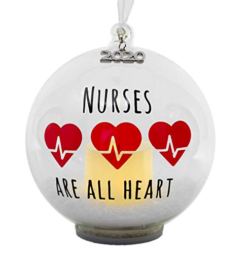2020 Nurse Ornament – Glass Ball Christmas Ornament with LED Votive Candle and Glitter –...