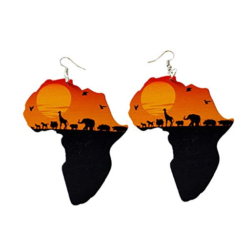 Idiytip Ethnic Women Jewelry African Eco Animals Pattern Painted Wooden Pendant Earrings Gifts Jewelry,Style 1