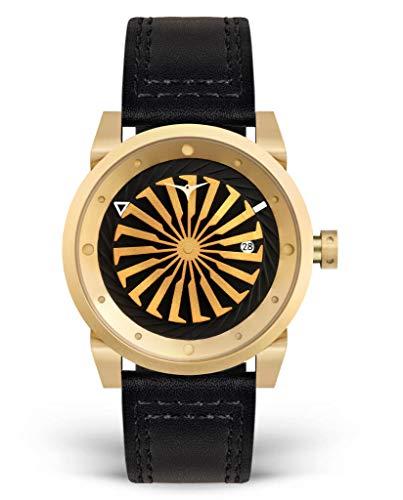 zinvoブレードMen 's Luxury Watch with Automatic Movement、ブラックレザーストラップ, and 12 Kゴールドケース