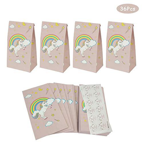 gotyou 36 Piezas Bolsa de Fiesta Unicornio,Bolsa de Papel Kraft de Regalo,Bolsa de Regalo de Unicornio,Bolsa de Embalaje/Bolsa de Regalo/Bolsa de Navidad/Envoltorio de Regalo(21cm * 12cm * 7.5cm)