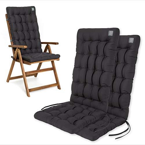 HAVE A SEAT Luxury | Gartenstuhlauflagen - Bequeme Hochlehner Polster Auflage, waschbar bei 95°C, Trockner geeignet, Sitzauflage für Gartenstuhl (2er Set - 120x48x8 cm, Grau-Anthrazit)