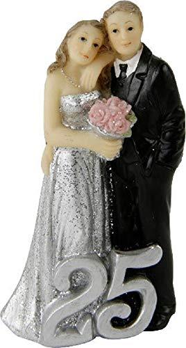 Home Collection - Statuina per matrimonio, coppia di sposi, 25 anni, nozze d'argento, 5,4 x 3,1 x 9 cm