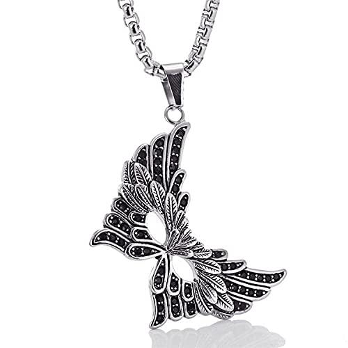 YQMR Colgante Collar para Mujer,Collar De Mujer, Diseño Clásico Grabado En Plata, Máscara De Mascarada, Colgante Punk, Amuleto, Joyería, Regalo para Mamá, Cumpleaños, Aniversario De Bodas