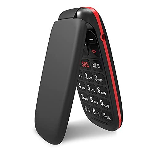 """Telefono Cellulare per Anziani, Ukuu GSM Cellulare per Anziani con Tasti Grandi Volume alto Funzione SOS Display 1.77"""" Supporto SIM Doppio, Chiamata Rapida Lungo Standby - Nero"""