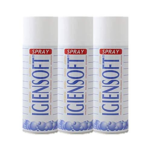 Rampi Igiensoft – Spray desodorante higienizante profesional para tejidos, ambiente, cajones, zapatos, armario, hotel, gimnasio, accesorios de lavandería – 3 unidades de 400 ml