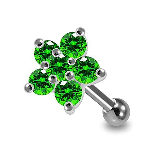 AZARIO LONDON Studded Flower Emerald CZ Stone 925 Sterling Silver Top with 16 Gauge Surgical Steel Cartilage Helix Tragus Ear Piercing Jewellery