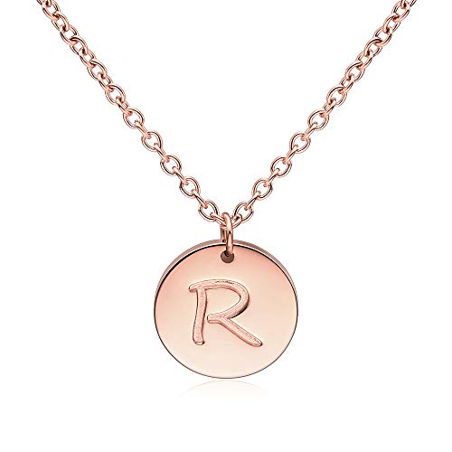 Three Keys Jewelry R Initial Necklace Rose Gold Disc Charm Infinity Coin Dainty Chain Name Mini Letter Link Pendant Mom Engraved Necklace for Women