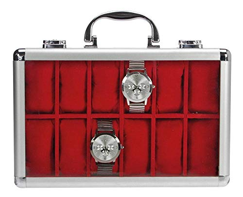 SAFE Caja de almacenamiento de relojes de aluminio 265 para hombre con 12 soportes para relojes en terciopelo azul real, caja con cerradura con tapa de cristal y cojín extraíble para relojes