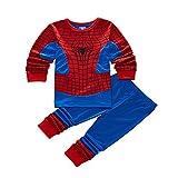 Spiderman Pijamas de Manga Larga para Niños Ropa De Dormir Pyjama Set Traje de Dormir Invierno Homewear Camisetas (B Blue,120cm)