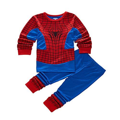 Spiderman Pijamas de Manga Larga para Niños Ropa De Dormir Pyjama Set Traje de Dormir Invierno Homewear Camisetas
