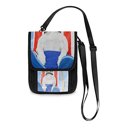 XiangHeFu Münzkassette Brieftasche Telefon Tasche Hund Sonnenbaden auf Liegestuhl Große Kapazität Damen Geldbörse Kartenhalter