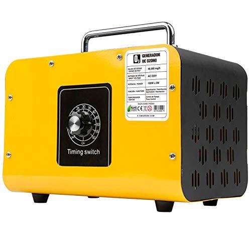 AMAZEAN O3 Premium/Generador de ozono Industrial 48.000mg / HR 220v con células tubulares de sílice. Limpiador de ozono, Dispositivo de ozono. Tecnologia Honey-Comb-Tec© (Amarillo)