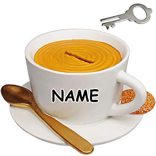 alles-meine.de GmbH große - Spardose - Kaffeetasse / Teetasse - mit Schlüssel und Schloss - inkl. Name - aus Kunstharz / Polyresin - stabile Sparbüchse - Verschluss - Sparschwein..