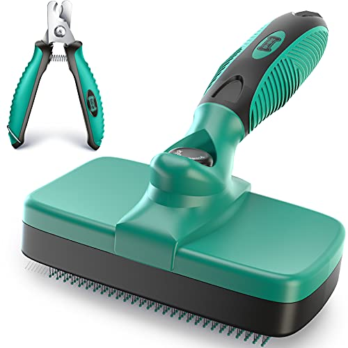 Ruff 'N Ruffus Self-Cleaning Slicker Brush | Upgraded PAIN-FREE Bristles Gently Removes Loose Undercoat, Mats & Tangled Hair | For Cats & Dogs With All Hair Types + FREE Pet Nail Clippers