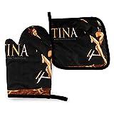 Lsjuee Tina Turner - Juego de manoplas y porta ollas para horno, lavables, resistentes al calor, antideslizantes, de cocina, guantes profesionales para horno, para microondas, barbacoa, cocina, hornea
