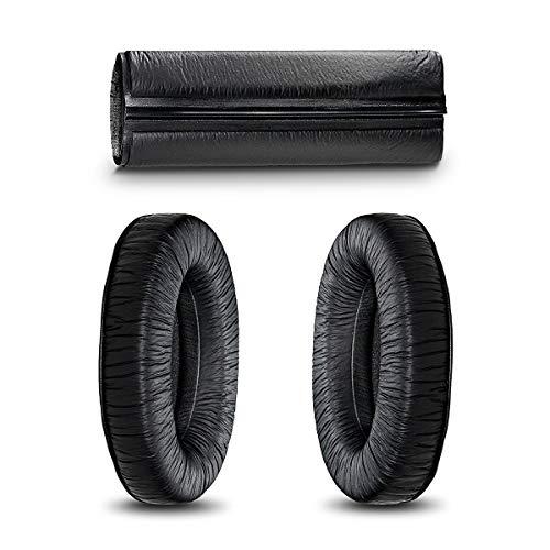 SCR Almohadillas Compatible Con Sennheiser HD280 Para La Oreja Kit de Almohadilla Para la Diadema Reemplazo Para HD 280 (PRO) HMD280 Auriculares Acolchado de Cojín Negro (Earpads & Headband Only)