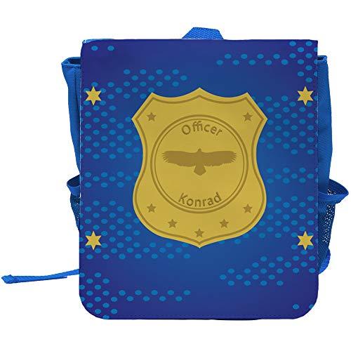 Kinder-Rucksack mit Namen Konrad und Officer-Motiv mit Sternen für Jungen | Rucksack | Backpack