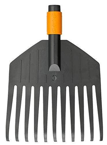 Fiskars Laubbesen, Werkzeugkopf, Klein, 11 Zinken, Breite: 21,3 cm, Kunststoff-Zinken, Schwarz/Orange, QuikFit, 1000659
