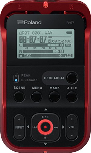 Roland High-Resolution Handheld Audio Recorder, Red (R-07-RD)