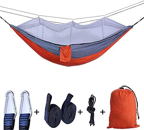 Camping Hamaca Colgante Hamaca con mosquitera | Hamacas Dobles para el paracaídas livianas al Aire Libre Hamaca portátil | para Senderismo Viaje Backpacking Beach (Color : Orange Gray)