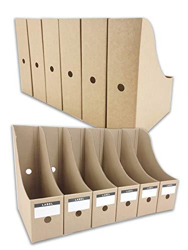 HUAPRINT Magazine File Holder(12 Pack,Brown)-Folder Holder,Desk File Organizer,Document Holder Box,Magazine Storage Box,With Labels