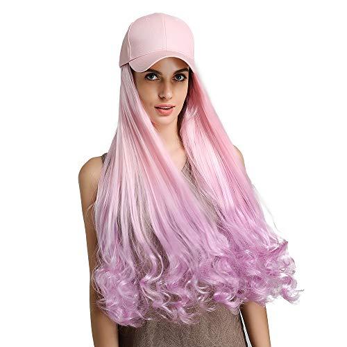 Sexy Lady Volledige Pruiken met hoeden Pink Gradient Paars 24 inch golf haar synthetische pruik met Roze baseballcap Daily Dress For Women
