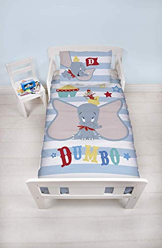 Dumbo Official Junior Toddler Cot Duvet Cover | Blue Striped Circus Nursery Design | Children's Kids Bedding Set & Pillowcase