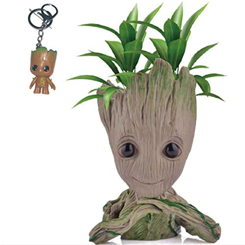 Kyhon Groot Blumentopf Figur - Übertopf Groß Aquarium Deko Figur Holz Aschenbecher Stiftehalter