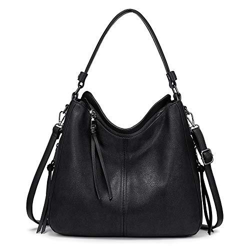 Realer Handtaschen Damen Lederimitat Umhängetasche Designer Taschen Hobo Taschen groß Mit Quasten Schwarz