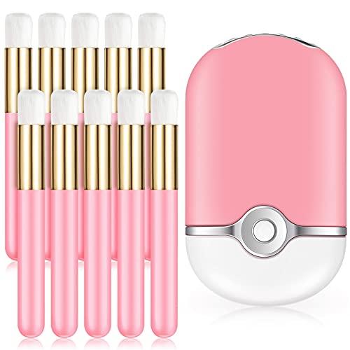 11 Piezas Cepillos de Champú de Pestañas Cepillos Cosméticos Mini Ventilador USB Soplador de Aire Acondicionado Mini Secador de Pestañas de Mano Recargable para Extensión de Pestañas
