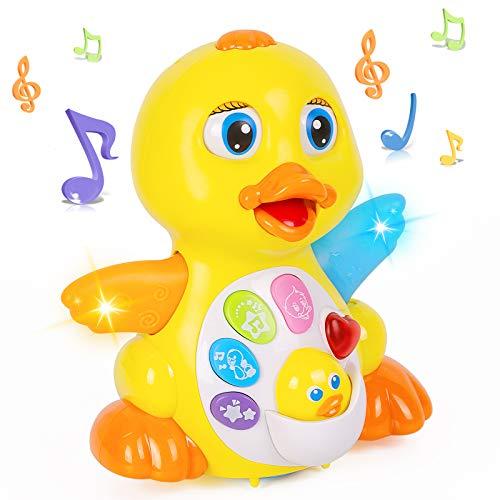 Thedttoy Juguetes musicales Juguetes para bebés 12 18 meses Dancing Duck Toy con música y luz LED Juguete de aprendizaje para niños Cumpleaños Regalos de Navidad para niño niña 1 2 3 años