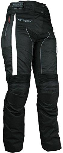 HEYBERRY Damen Motorradhose sportlich Textil Schwarz Weiß Gr. L / 40