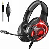 Fosmon Gaming Headset with Detachable Microphone, (50mm NdFeb Magnetic Driver) Strong Bass Over Ear Headphone with Ergonomic Headband Compatible with Xbox PS5 Nintendo Switch PC Laptop Desktop Mac