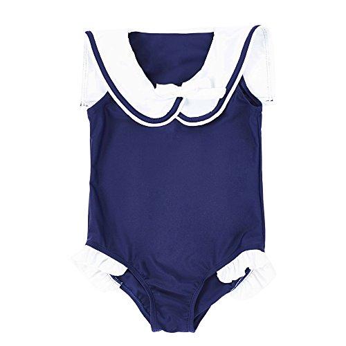 7 Mi kinderen meisjes jumpsuit Swim Dress Navy Sailor kraag eendelige badmode